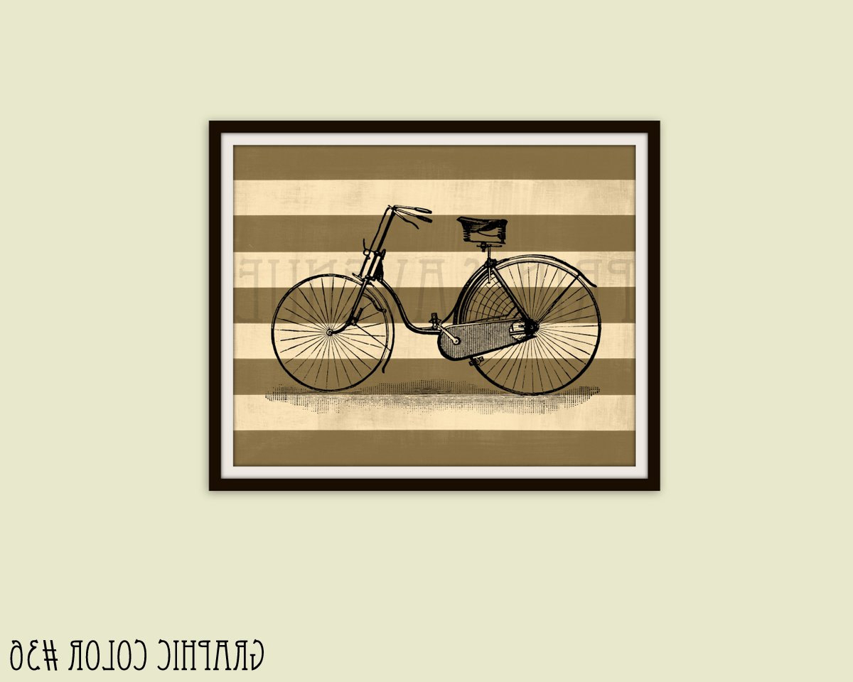 Bike Wall Decor Throughout Most Current Vintage Bicycle Art Print Bike Wall Art Bicycle Wall Decor (Gallery 16 of 20)