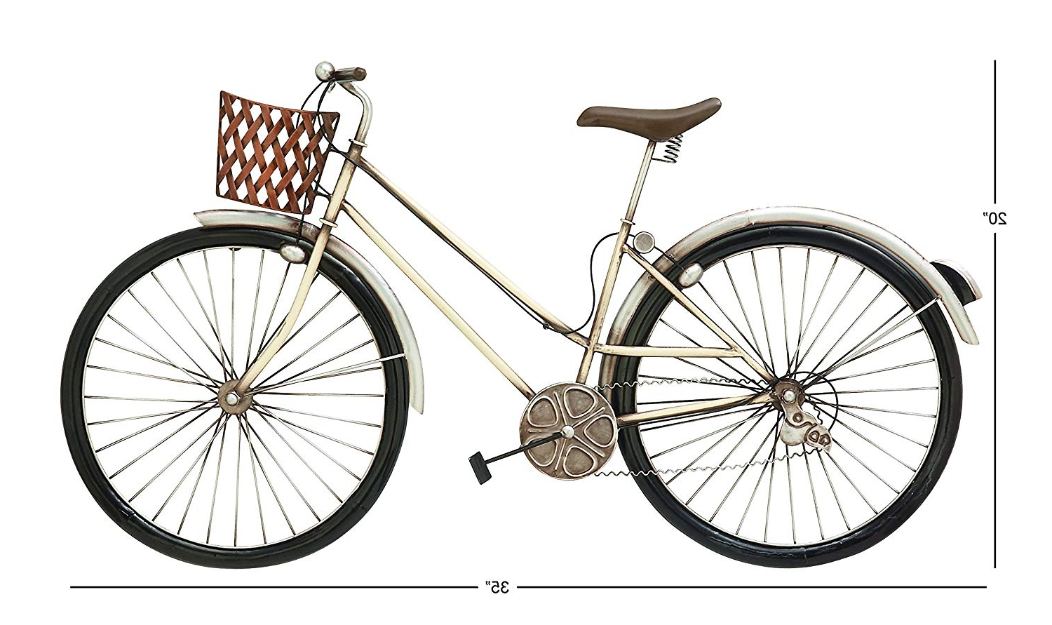 "Bike Wall Decor With Regard To Fashionable Amazon: Deco 79 Rustic Metal Bicycle Wall Decor, 20""h X 35""l (Gallery 12 of 20)"