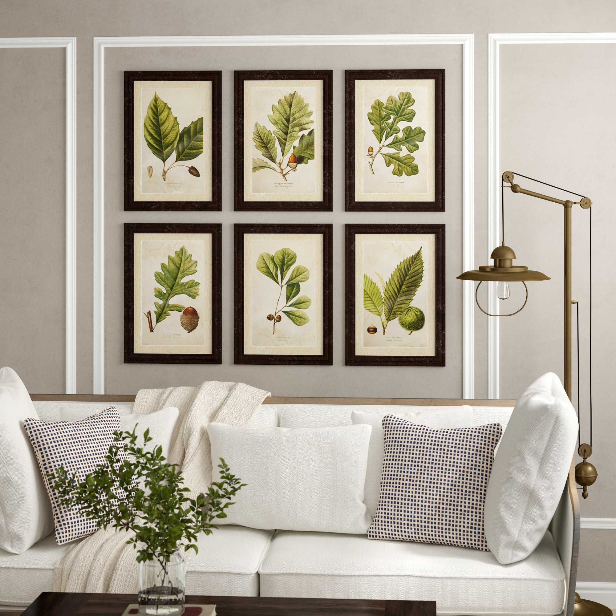 Birch Lane™ Heritage 'deciduous' 6 Piece Framed Graphic Art Set For Newest 2 Piece Heart Shaped Fan Wall Decor Sets (Gallery 3 of 20)