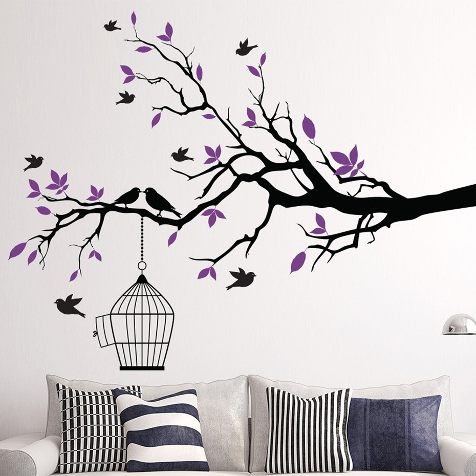 Birds On A Branch Wall Decor Inside 2019 Tree Branch Wall Art Sticker With Bird Cage Removable Vinyl Wall (Gallery 3 of 20)