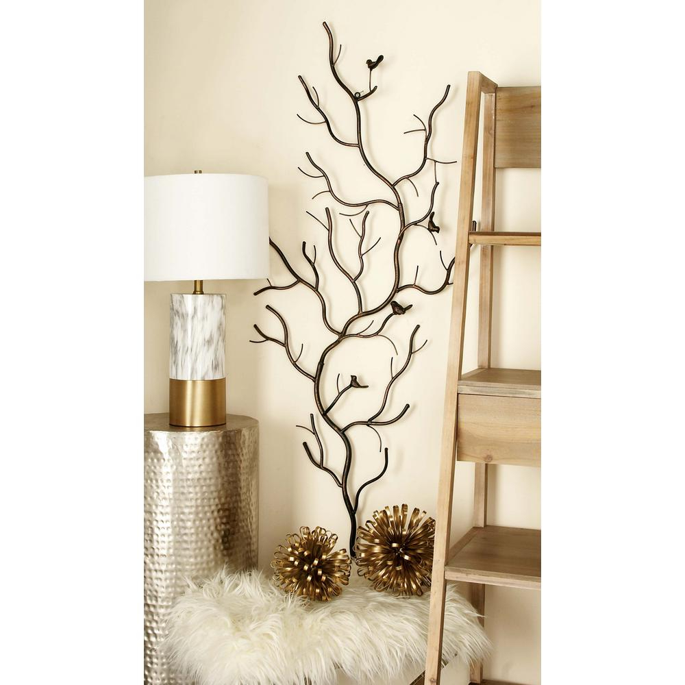Birds On A Branch Wall Decor Regarding Popular Litton Lane Rustic Gray Iron Branches And Birds Wall Decor 58558 (Gallery 9 of 20)