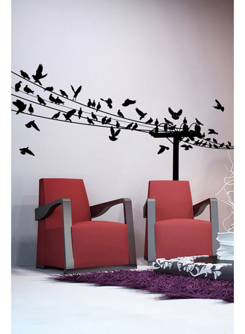 Birds On A Wire Wall Decor With Most Current Birds On A Wire Wall Decal Black 130x60 Centimeter Price In Uae (View 17 of 20)