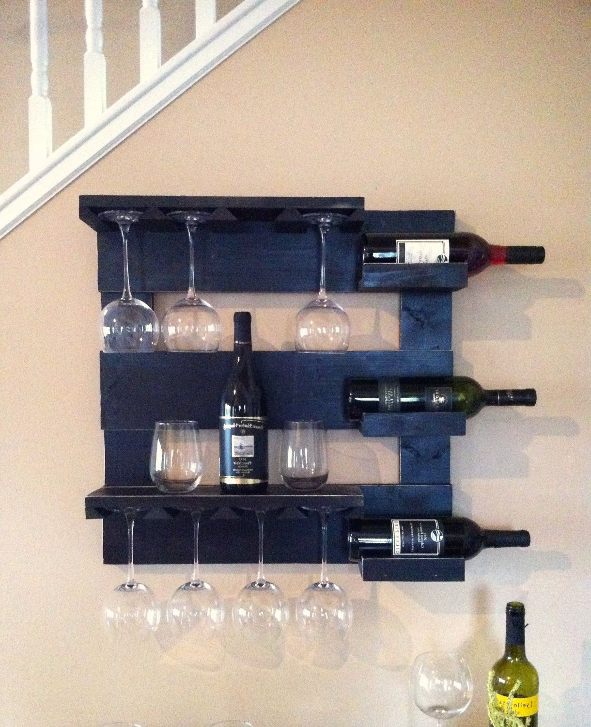 Black Wine Rack, Wine Storage, Wine Glass Holder, Bar Shelf, Kitchen Regarding Newest Three Glass Holder Wall Decor (View 6 of 20)