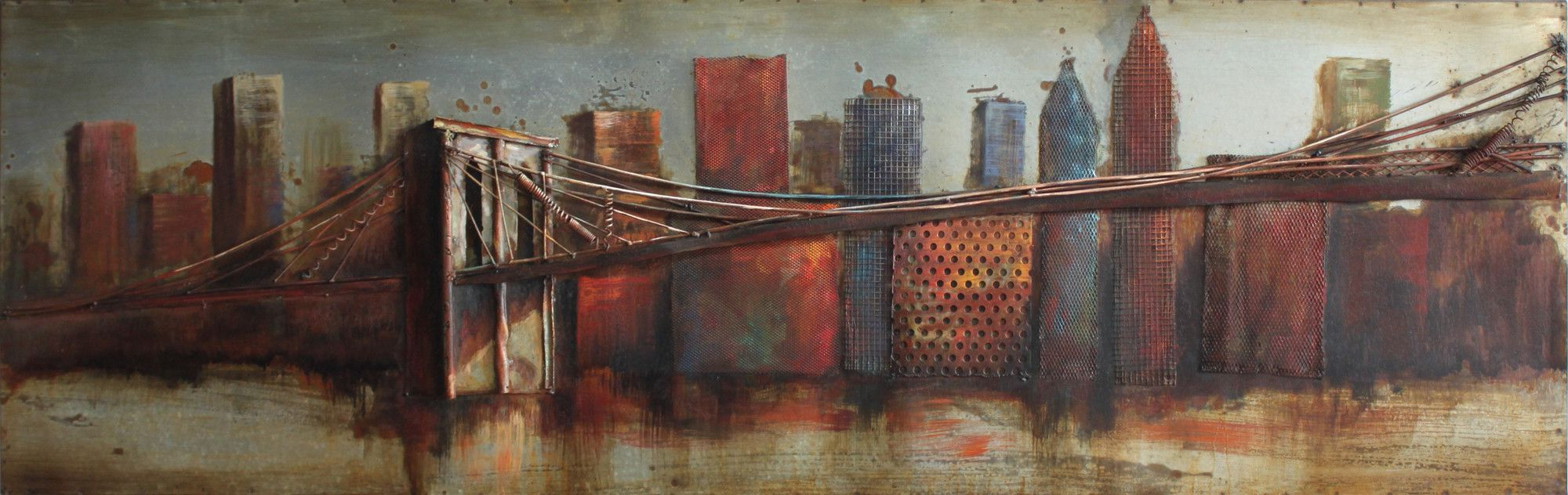 """bridge To The City"" Mixed Media Iron Hand Painted Dimensional Wall Decor Regarding Widely Used Bridge To The City 1 Mixed Media Iron Hand Painted Dimensional Wall (View 2 of 20)"