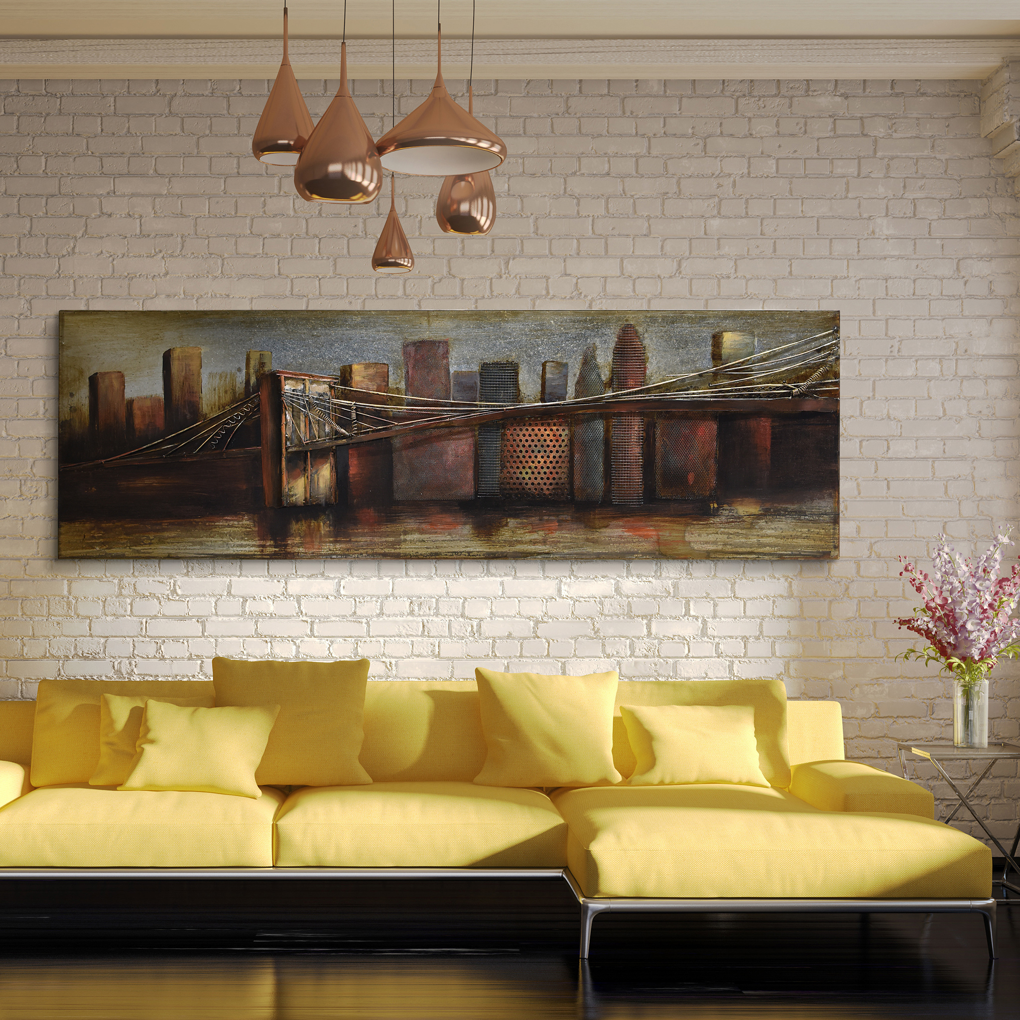 """bridge To The City"" Mixed Media Iron Hand Painted Dimensional Wall Decor With Most Current Empire Art Direct Bridgescape Hand Painted 3D Metal Wall Art, 48"" X (View 4 of 20)"