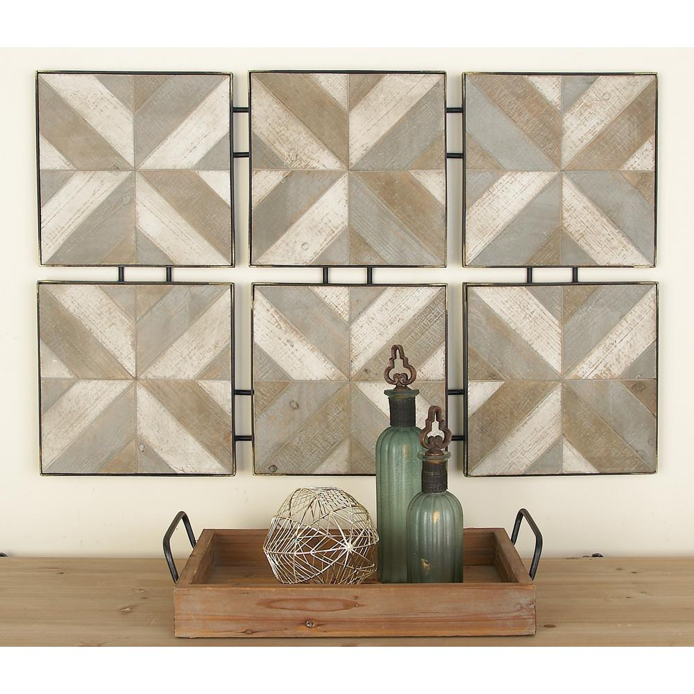 Brown Wood And Metal Wall Decor For Most Up To Date Litton Lane Rustic Brown Wooden And Metal Herringbone Panel Wall (View 14 of 20)