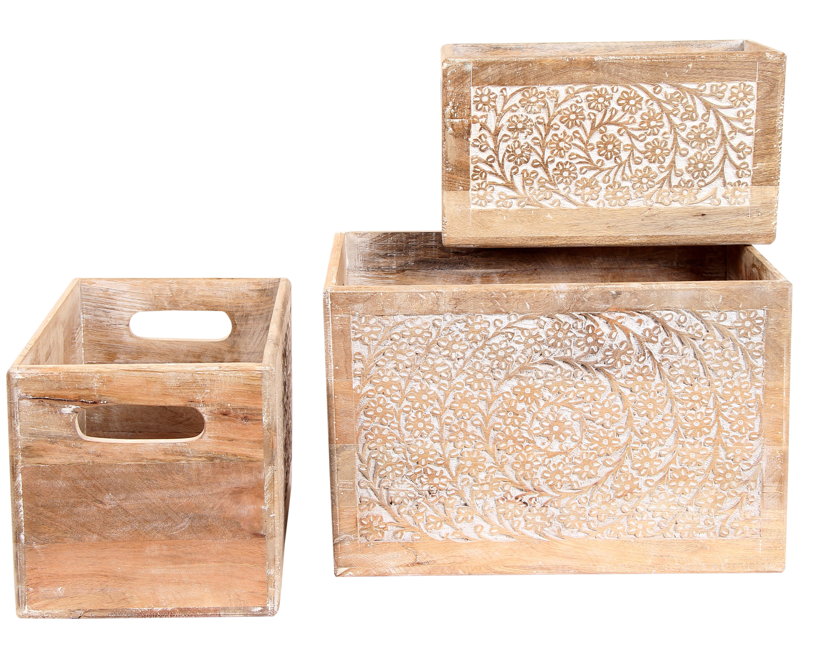 Bungalow Rose Distressed Solid Wood 3 Piece Decorative Crate Set Intended For Widely Used 4 Piece Handwoven Wheel Wall Decor Sets (Gallery 17 of 20)