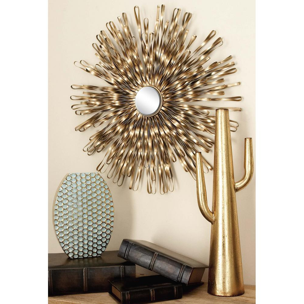 Contemporary Abstract Round Wall Decor In Most Recent Litton Lane Modern Copper Gold Iron Band And Mirror Wall Decor (set (View 18 of 20)