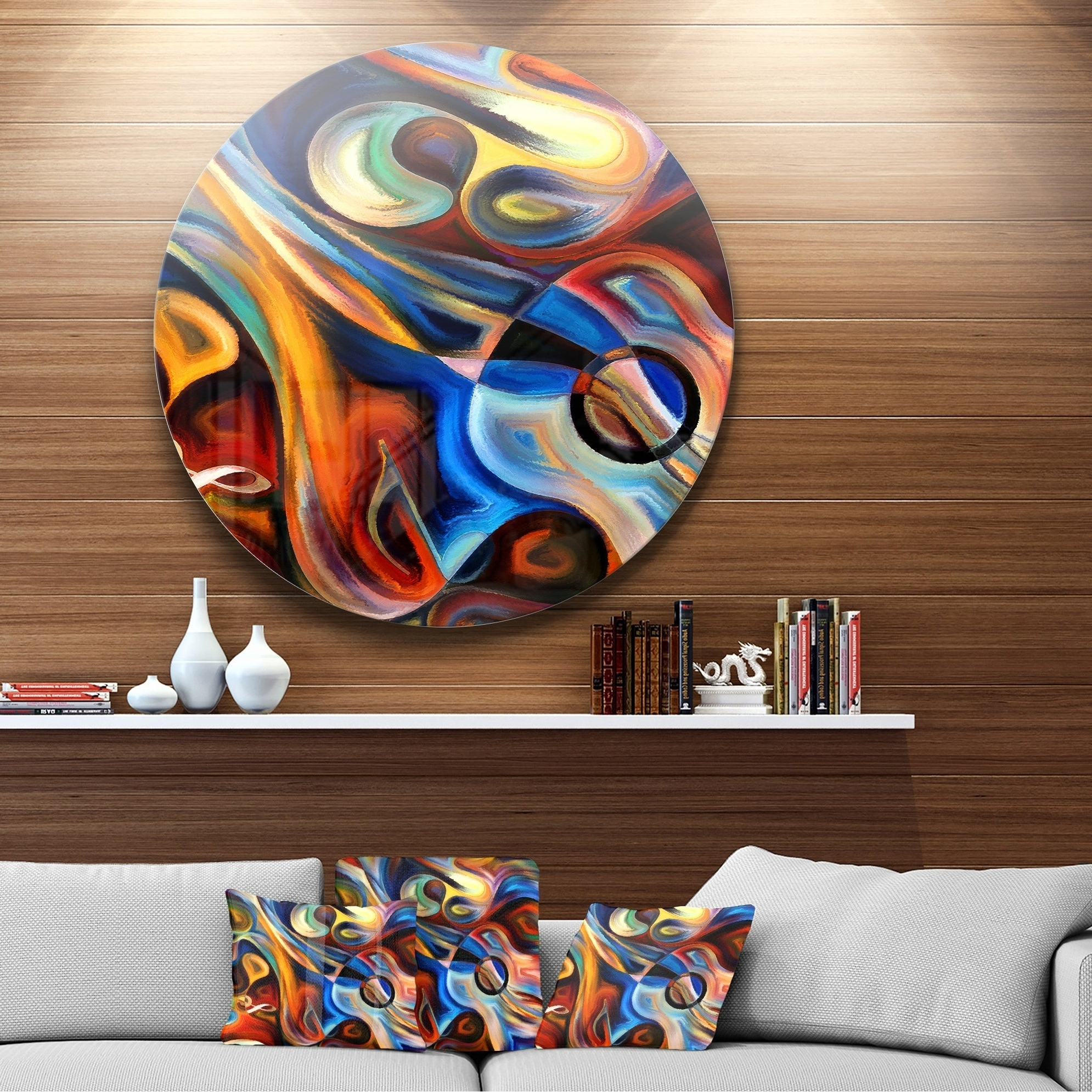 Contemporary Abstract Round Wall Decor Intended For Well Liked Shop Designart 'abstract Music And Rhythm' Abstract Glossy Circle (View 7 of 20)
