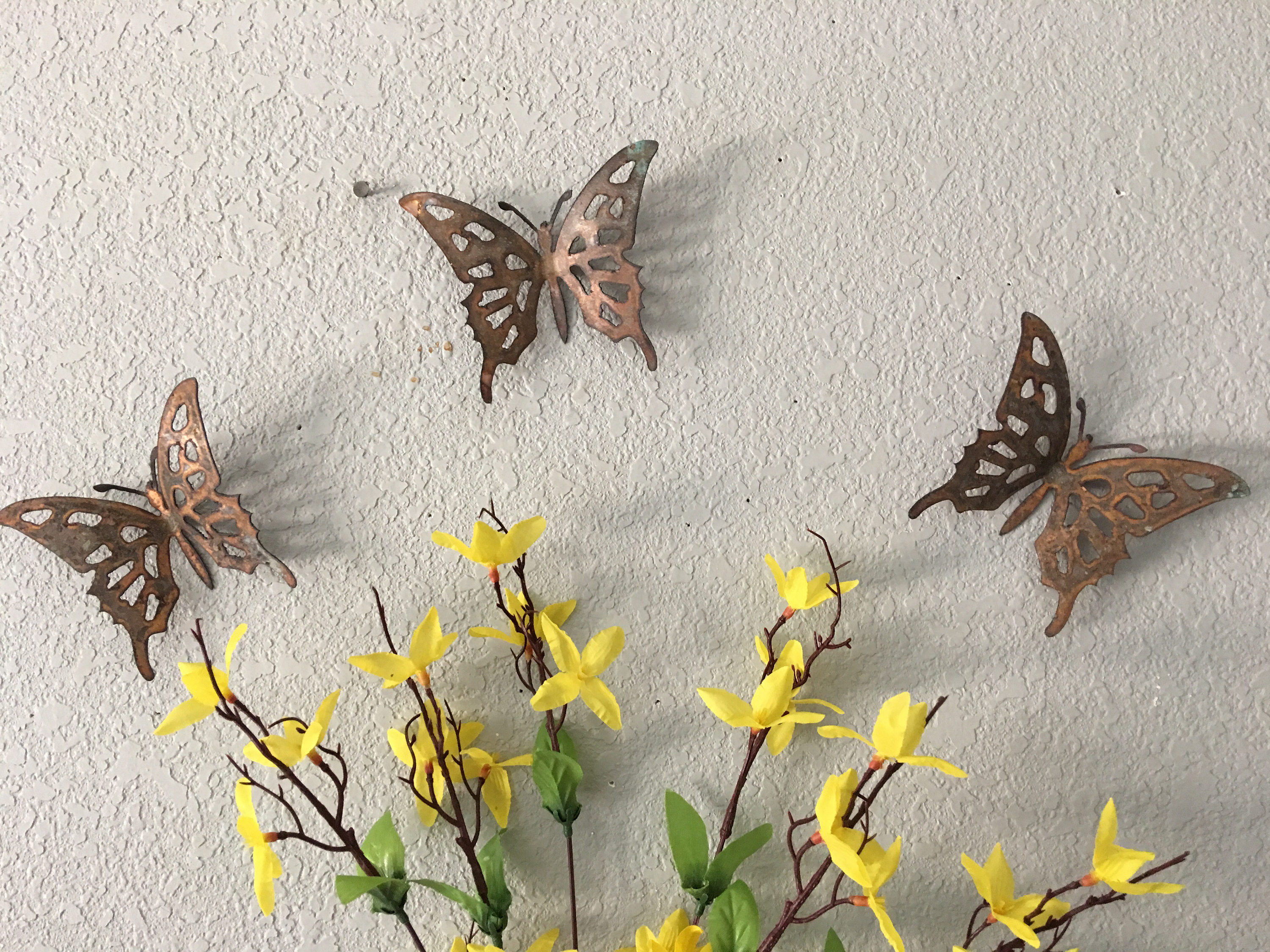 Copper Butterflies Set Of 3 Butterflies Wall Art Metal (Gallery 4 of 20)