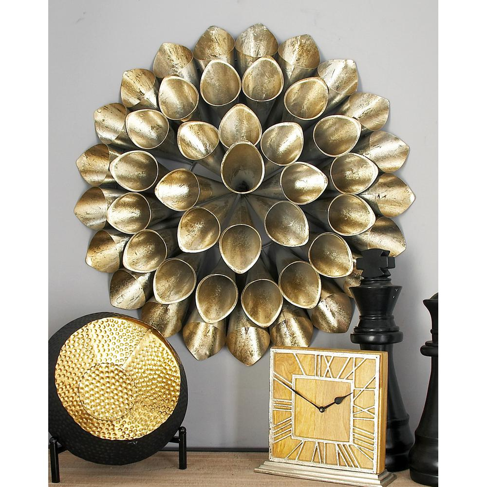 Cosmolivingcosmopolitan Iron Silver Finished Slanted Floral Cone With Most Recently Released Metal Wall Decor By Cosmoliving (View 3 of 20)