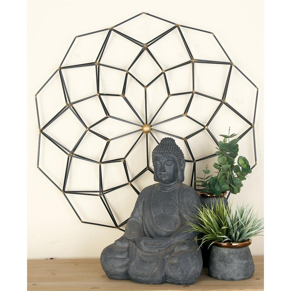 Cosmolivingcosmopolitan Modern Black And Gold Iron Geometric Intended For Current Metal Wall Decor By Cosmoliving (View 4 of 20)