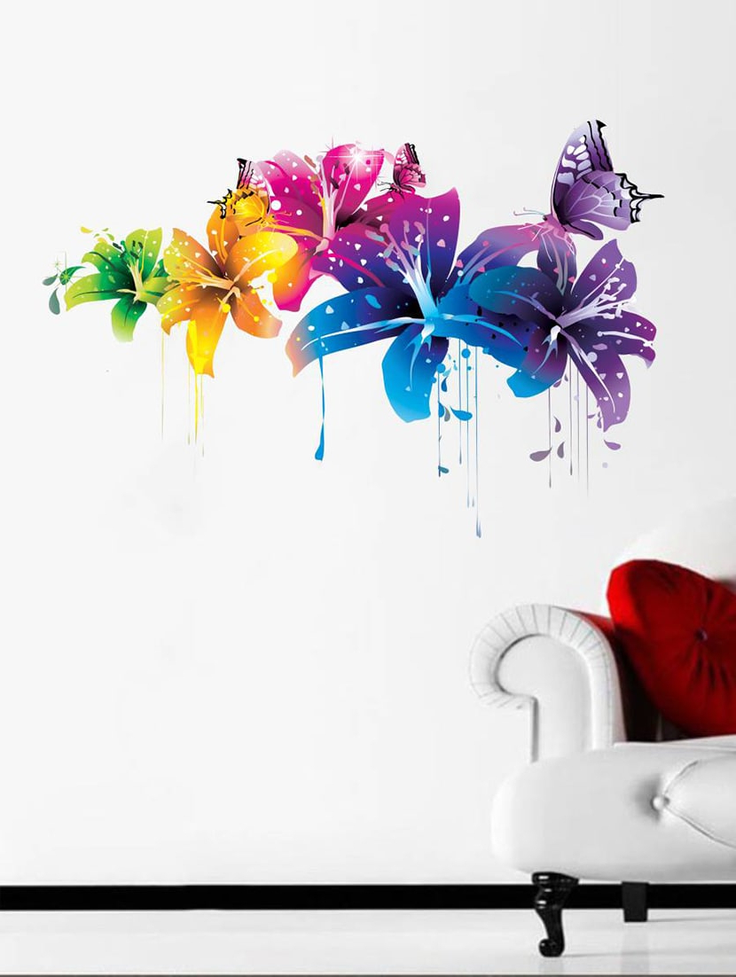 Current 3 Piece Capri Butterfly Wall Decor Sets In Buy Rawpockets Wall Decals ' Flowers With Butterfly ' Wall Stickers (View 5 of 20)