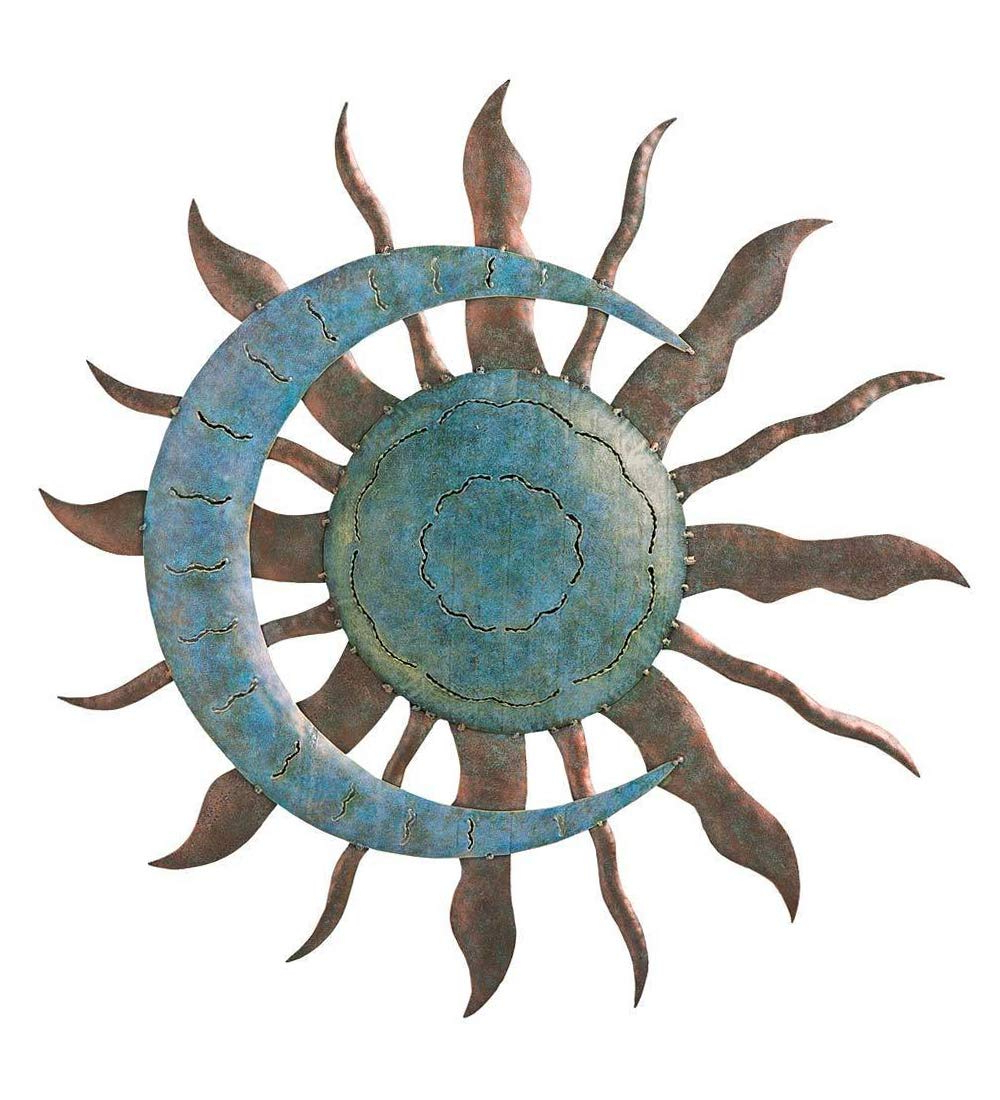 Current Amazon: Plоw & Hеаrth Home Decor Indoor Outdoor Recycled Metal Throughout Recycled Moon And Sun Wall Decor (View 3 of 20)