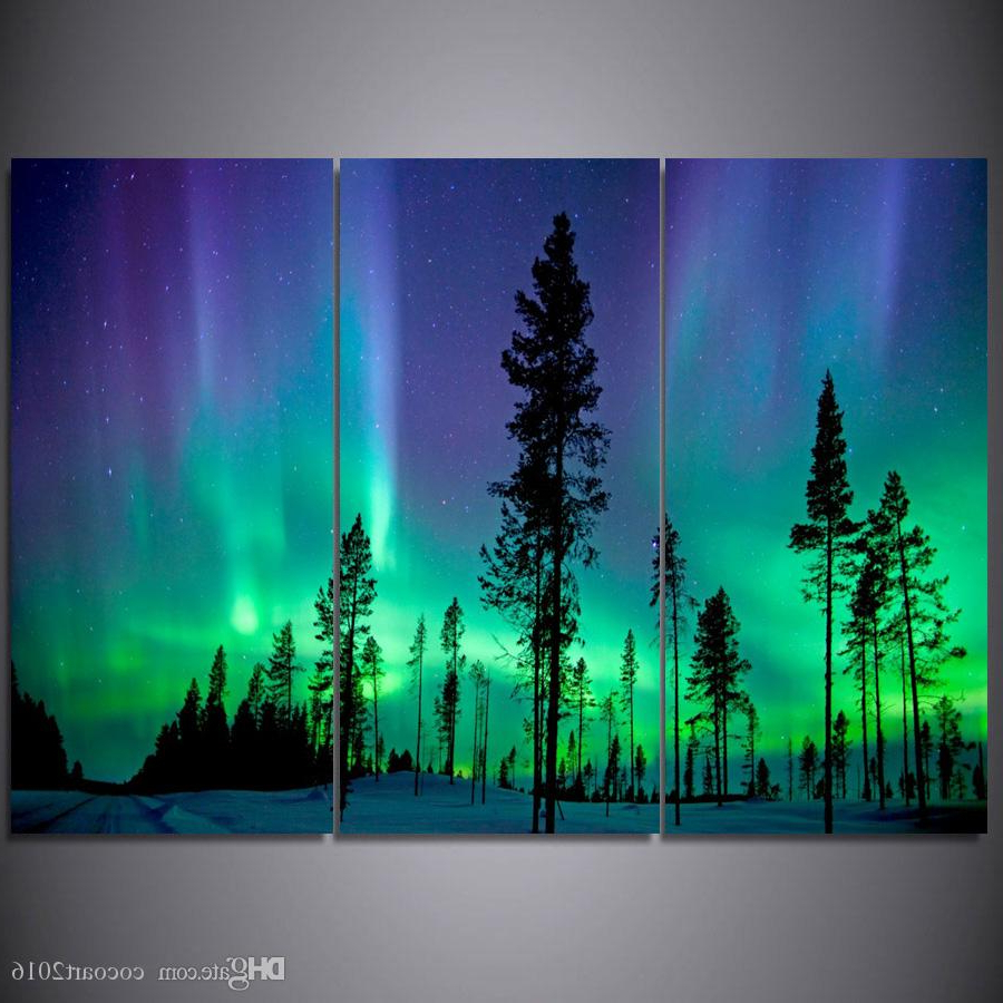 Current Aurora Sun Wall Decor Within 2019 3 Panel Lights Tree Forest Canvas Painting Home Decoration Wall (View 9 of 20)