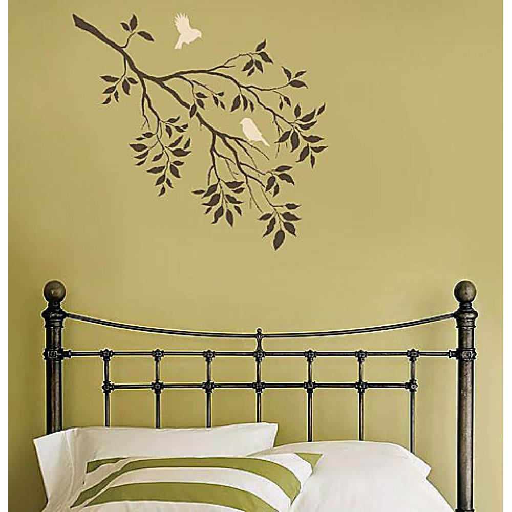 Current Birds On A Branch Wall Stencil Pertaining To Birds On A Branch Wall Decor (Gallery 11 of 20)