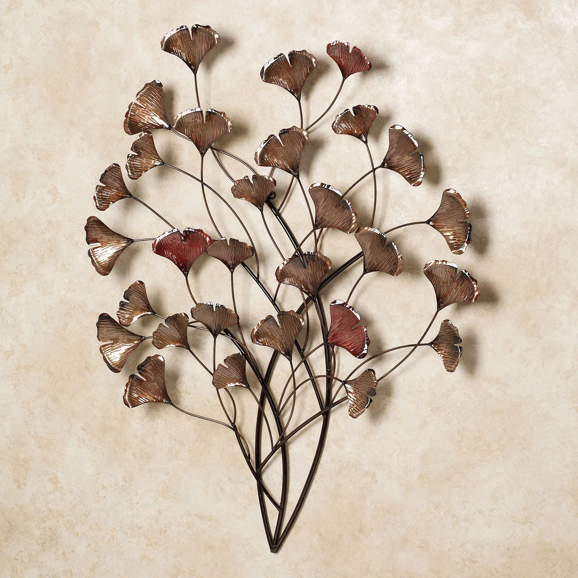 Current Ginkgo Whispers Metal Wall Sculpture Throughout Leaves Metal Sculpture Wall Decor (Gallery 3 of 20)