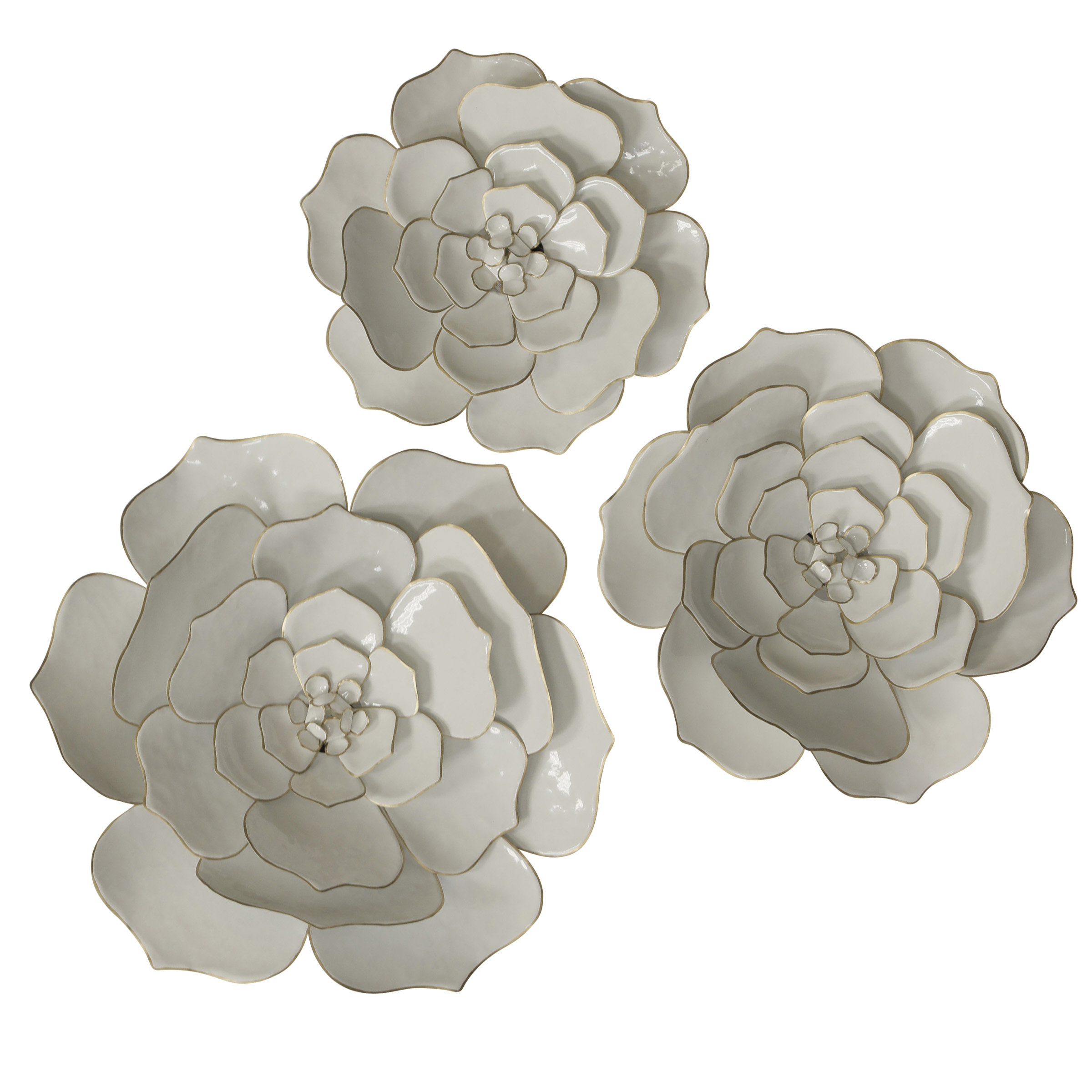 Current Metal Flower Wall Decor (Set Of 3) Within Bungalow Rose 3 Piece Floral Metal Wall Décor Set (Gallery 2 of 20)