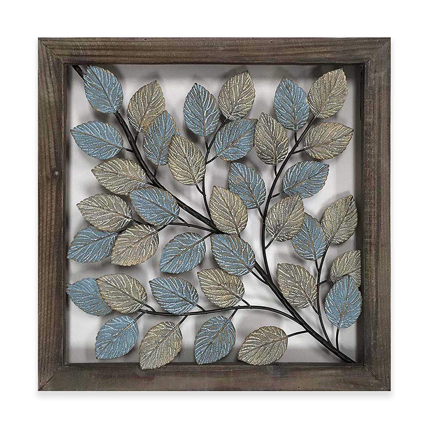 Current Olive/gray Metal Wall Decor With Amazon: Leaves Metal Wall Art Decor In Blue & Cream: Home & Kitchen (View 6 of 20)