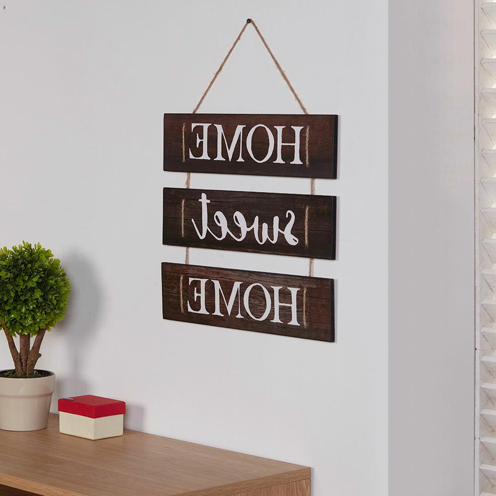 Danya B Inspirational Home Sweet Home Wooden Wall Hanging Sign With With Regard To Fashionable Metal Rope Wall Sign Wall Decor (View 3 of 20)