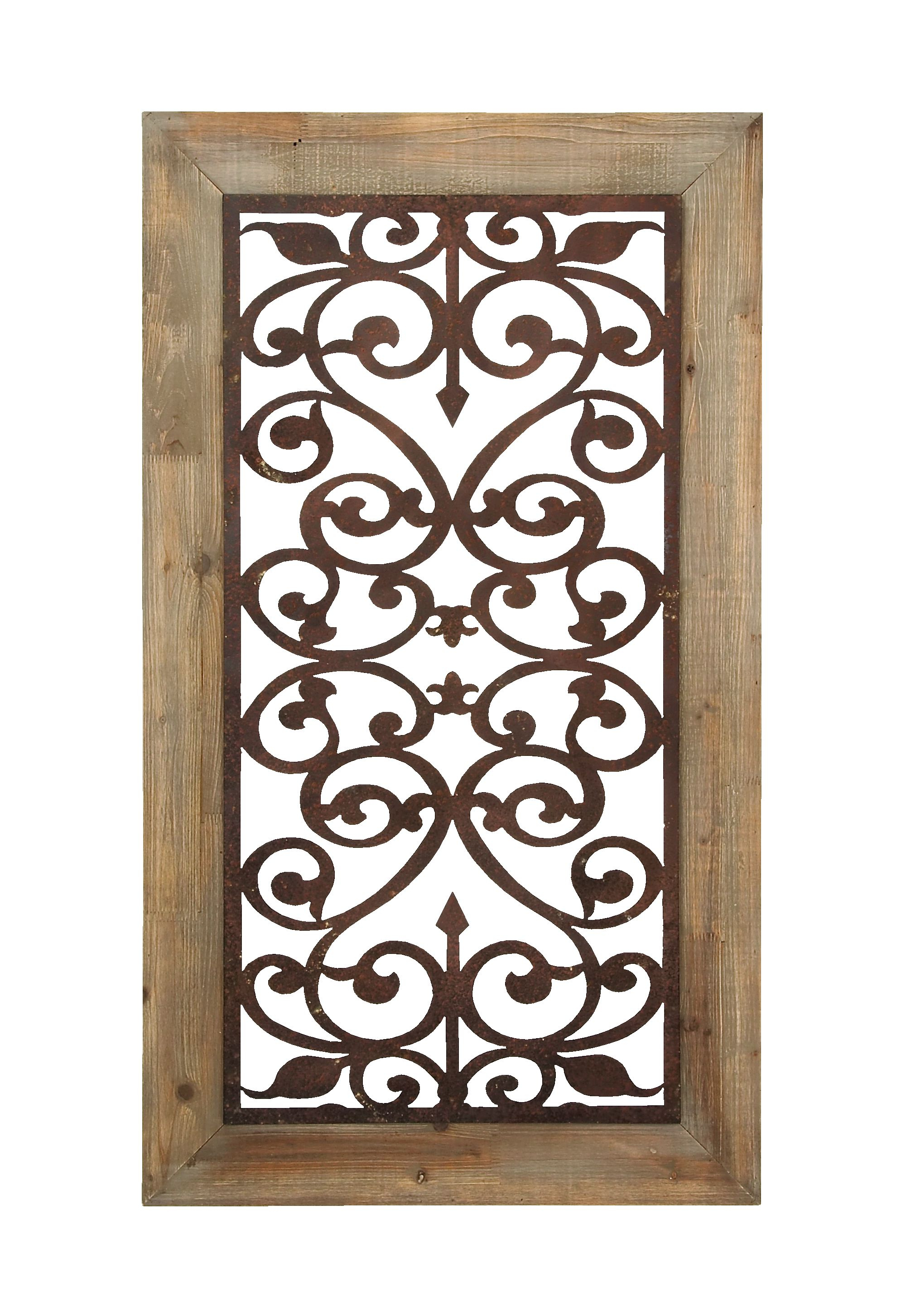 "Decmode 26"" X 46"" Distressed Wood & Brown Metal Wall Art Panel W With Regard To Well Liked Brown Wood And Metal Wall Decor (Gallery 11 of 20)"