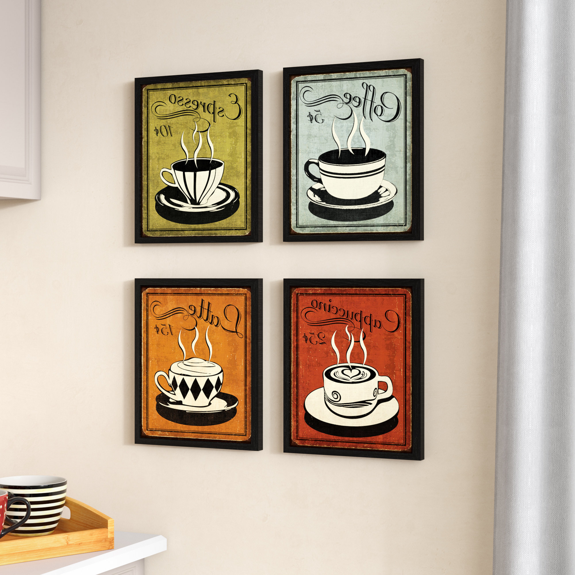 Decorative Three Stacked Coffee Tea Cups Iron Widget Wall Decor Throughout Current Red Barrel Studio 'classic And Colorful Retro Coffee' Framed Graphic (View 7 of 20)