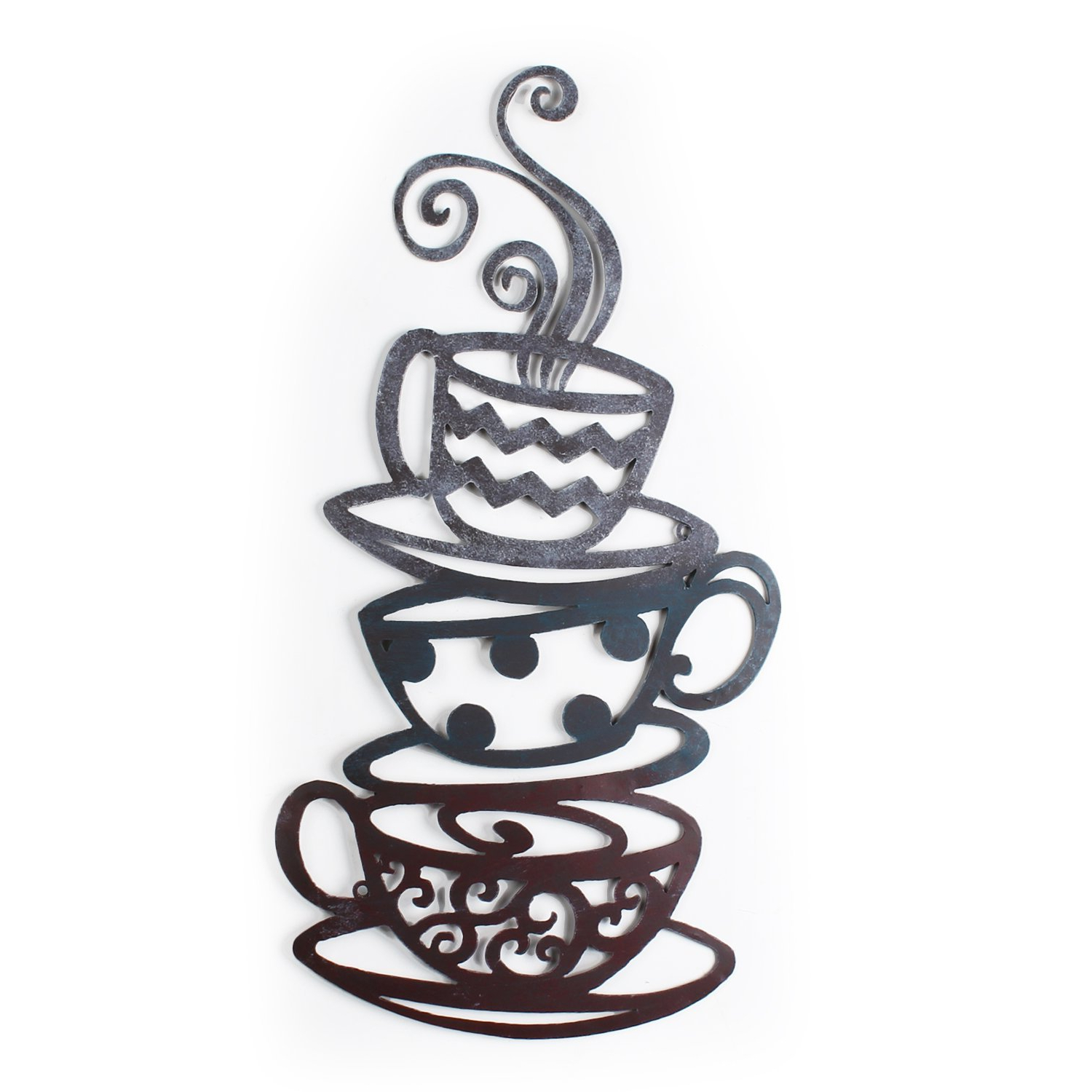 Decorative Three Stacked Coffee Tea Cups Iron Widget Wall Decor Throughout Favorite Amazon: Adeco Dn0008 Decorative Iron Wall Hanging Accents, Three (Gallery 2 of 20)