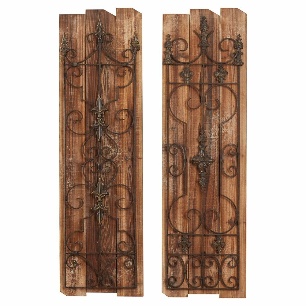 Details About Rustic French Country Scrolling Garden Gate Wood Metal Regarding Well Known Brown Wood And Metal Wall Decor (View 8 of 20)
