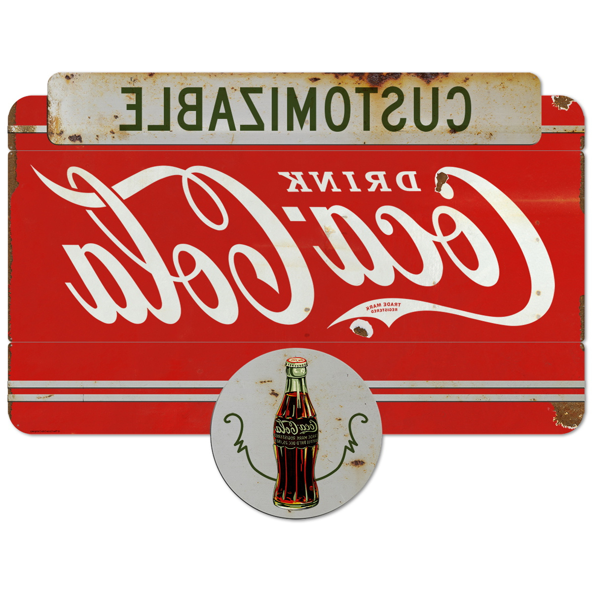 Drink Coca Cola 1930S Style Personalized Large Metal Signs For Preferred Personalized Distressed Vintage Look Kitchen Metal Sign Wall Decor (Gallery 18 of 20)
