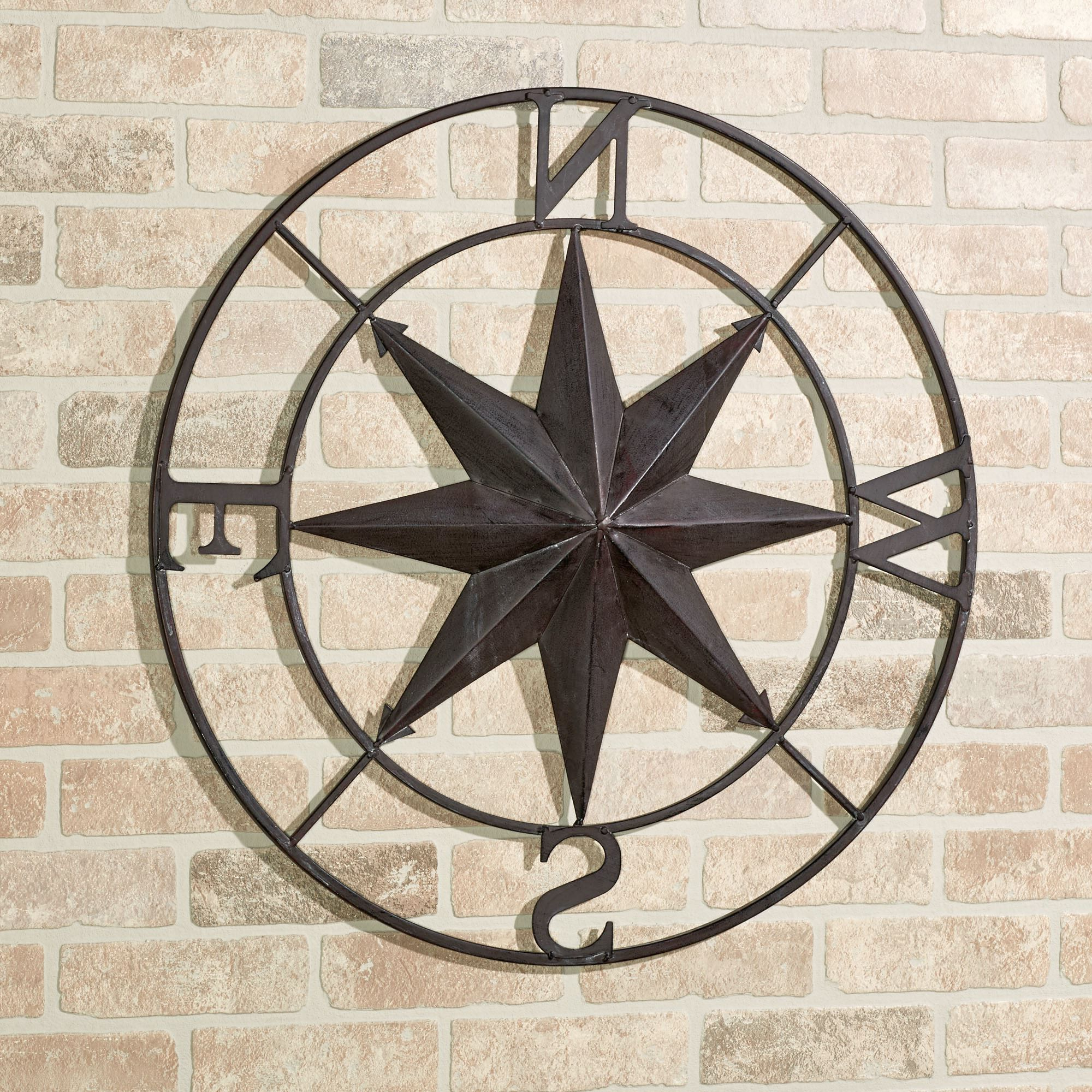 Earhart Indoor Outdoor Compass Wall Art (View 4 of 20)
