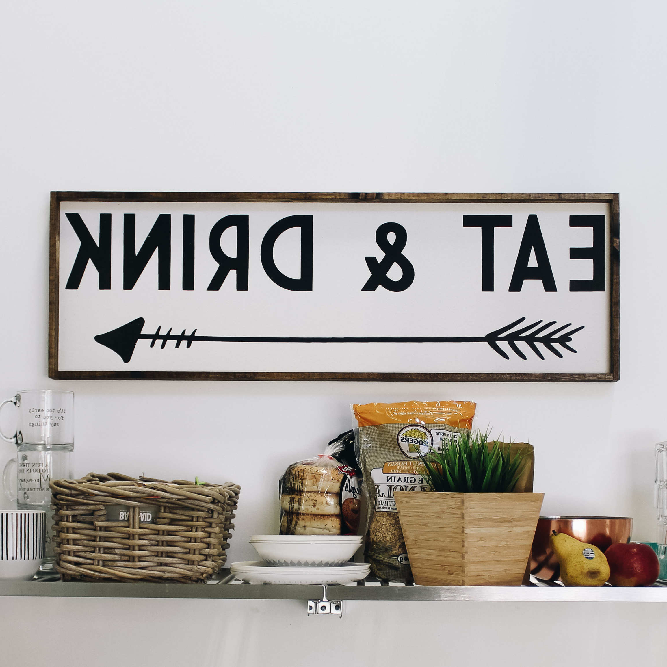 Eat Rustic Farmhouse Wood Wall Decor For Most Current Eat & Drink Wood Sign Farmhouse Style Framed Wood Wall Art (Gallery 10 of 20)