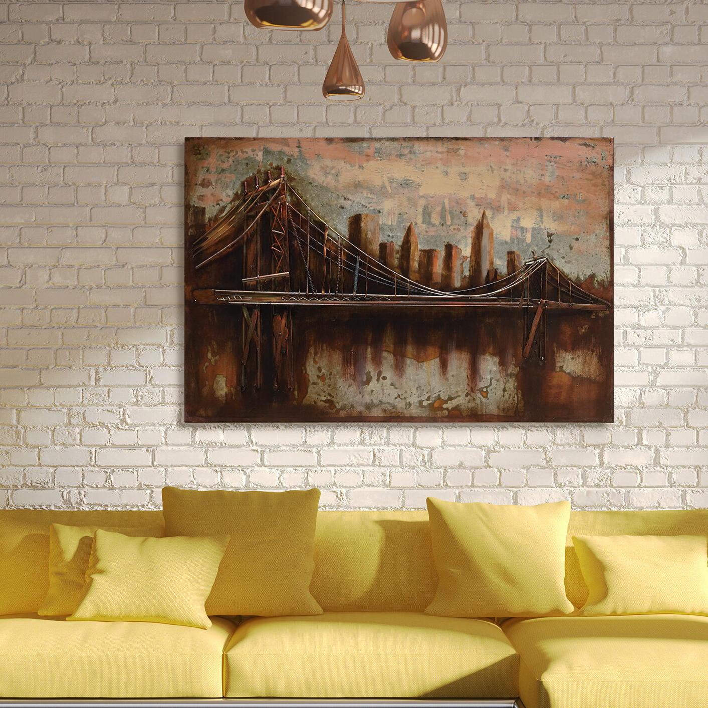 "Empire Art Direct ""bridgescape"" Mixed Media Iron Hand Painted With Regard To Well Liked ""bridge To The City"" Mixed Media Iron Hand Painted Dimensional Wall Decor (View 8 of 20)"