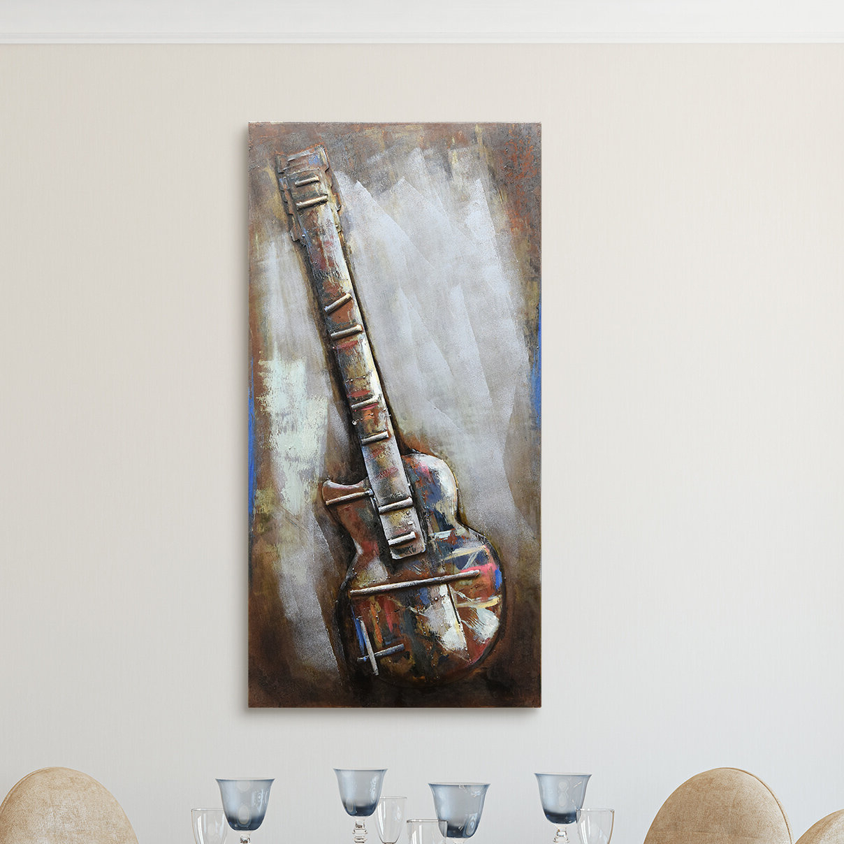 "Empire Art Direct ""electric Guitar"" Mixed Media Iron Hand Painted Throughout 2019 Mixed Media Iron Hand Painted Dimensional Wall Decor (View 7 of 20)"