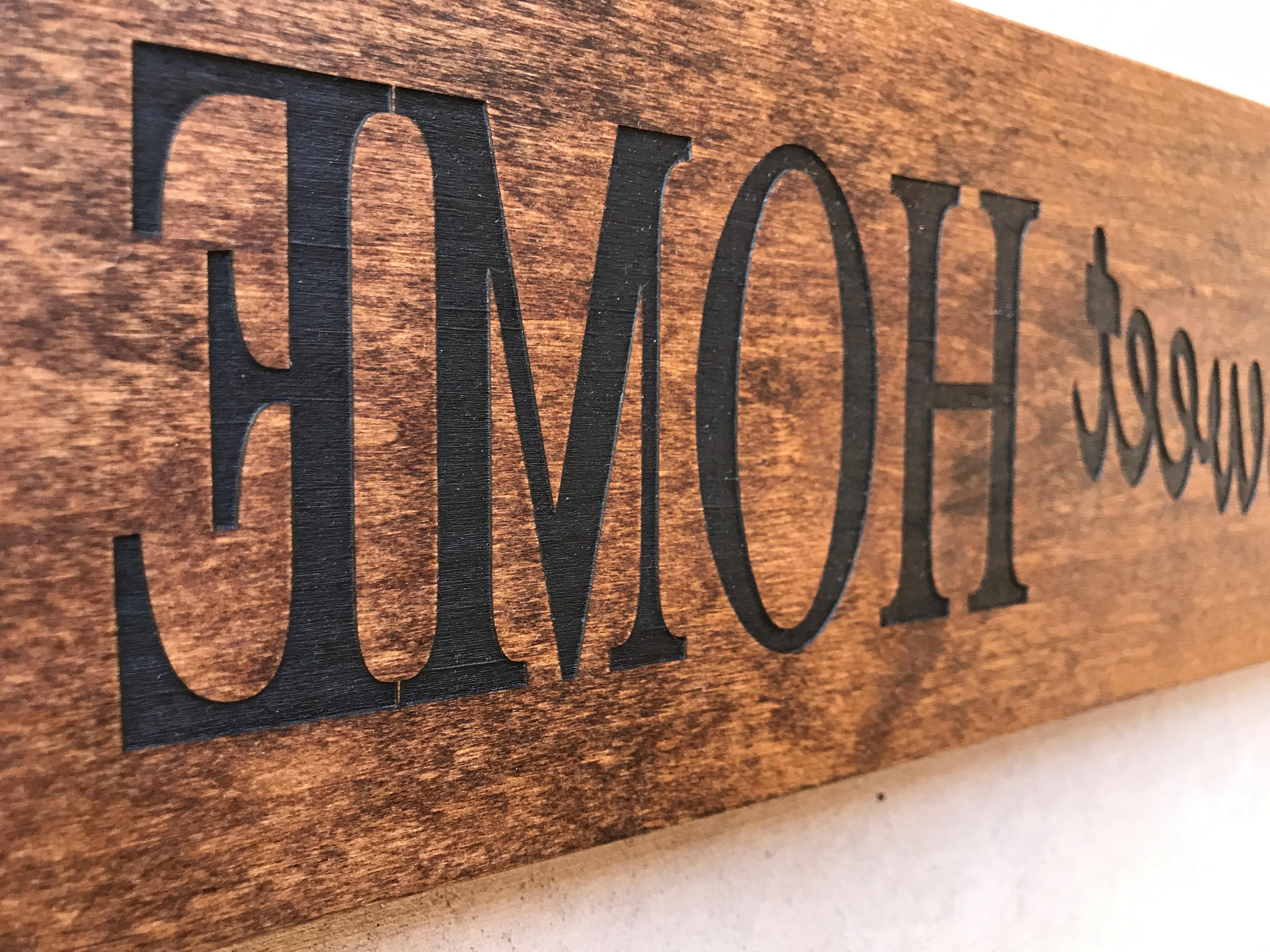 Engraved Wood Home Sign / Inspirational Sign / Custom Wall Decor Within Preferred Laser Engraved Home Sweet Home Wall Decor (Gallery 13 of 20)