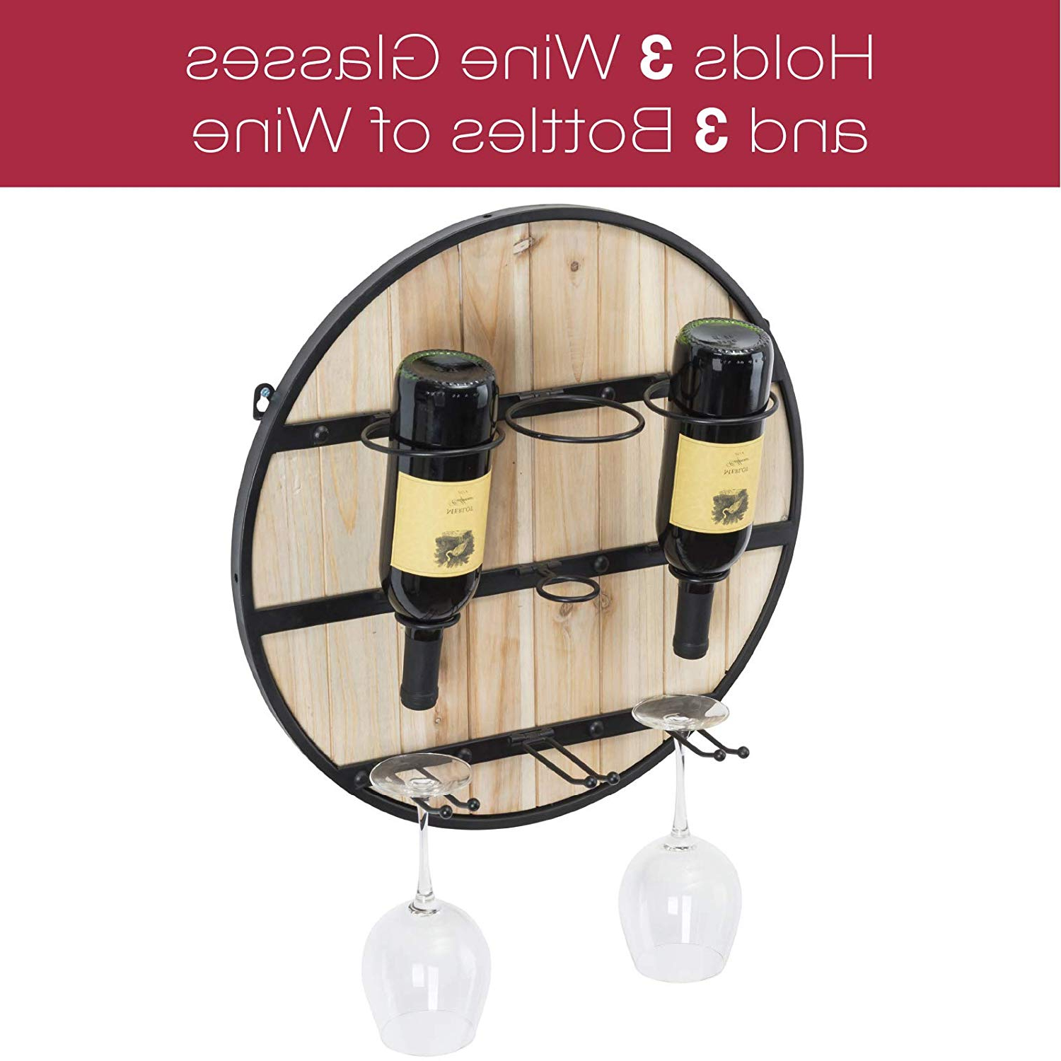 Excello Global Products Wooden Wall Mounted Wine Rack: Wine Bottle Intended For Preferred Three Glass Holder Wall Decor (View 9 of 20)