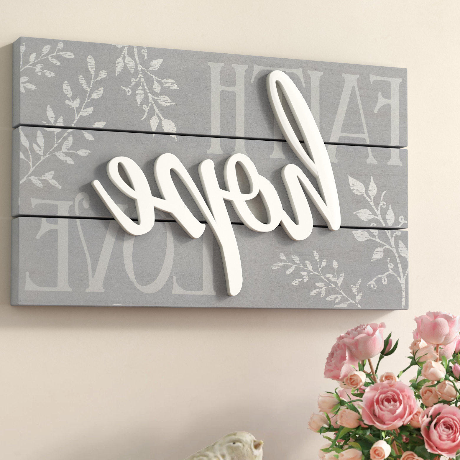 Featured Photo of Faith, Hope, Love Raised Sign Wall Decor