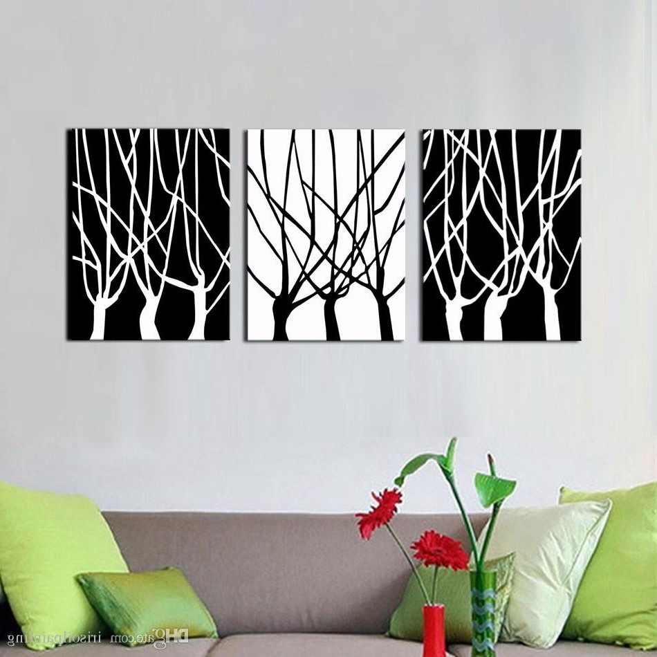 Famous 2019 Lk354 3 Panel Exquisite White And Black Trees Abstract Oil Within Abstract Bar And Panel Wall Decor (View 9 of 20)
