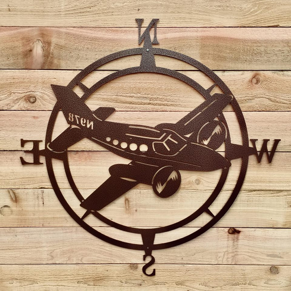 Famous Airplane Compass Wall Art, Aviation Metal Wall Art, Aviation Outdoor Within Round Compass Wall Decor (View 7 of 20)
