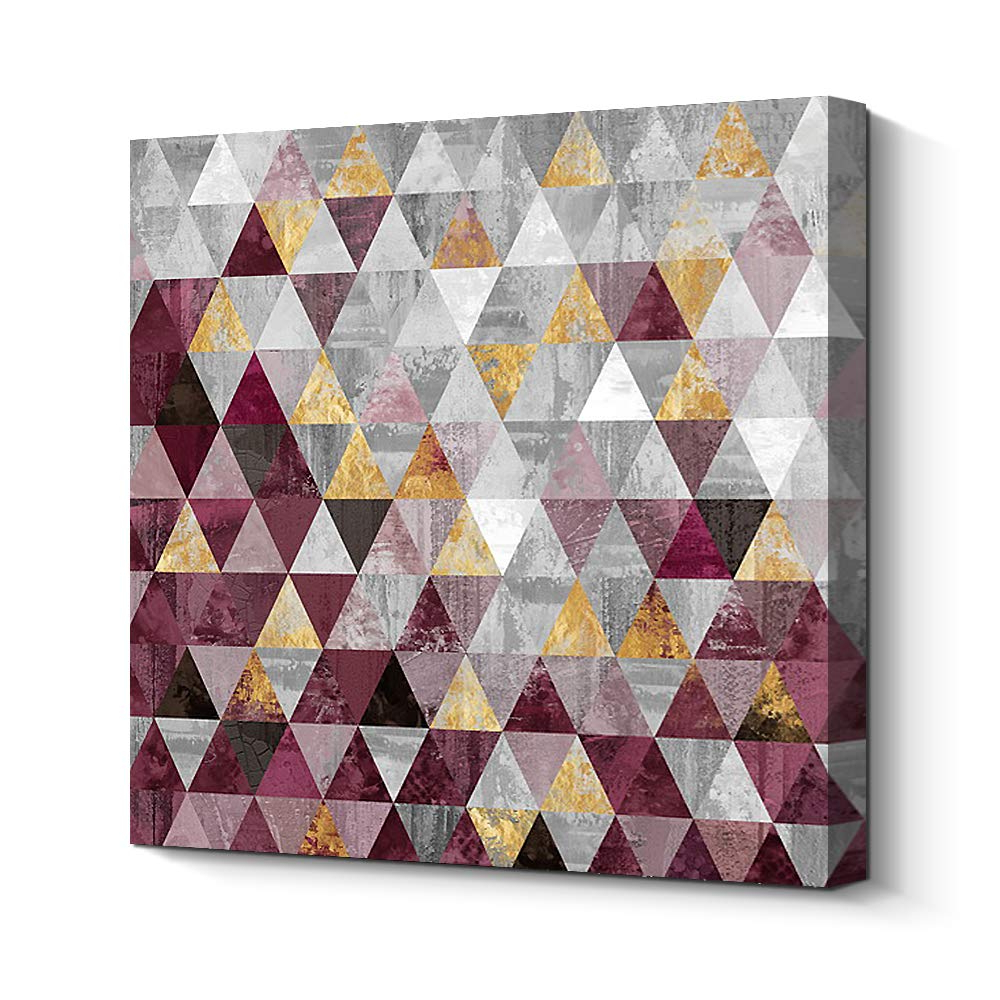 Famous Amazon: Pigort Premium Gilded Abstract Geometric Canvas Print Intended For Contemporary Geometric Wall Decor (Gallery 16 of 20)