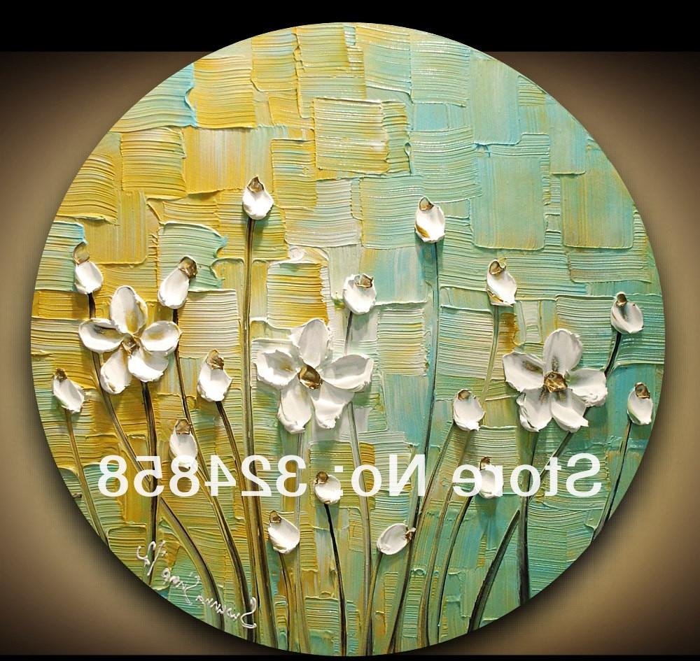 Famous Contemporary Abstract Round Wall Decor Inside Abstract Art Impasto Green Yellow White Blossom Modern Palette Knife (View 12 of 20)