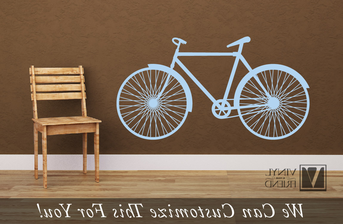 Famous Road Bicycle Retro Vintage Wall Vinyl Decal Graphic A Sports Wall Decor In Bike Wall Decor (View 13 of 20)