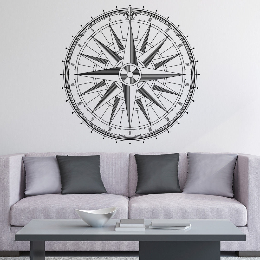 Famous Round Compass Rose Wall Decal Home Wall Or Ceiling Vinyl Sticker Regarding Round Compass Wall Decor (View 8 of 20)