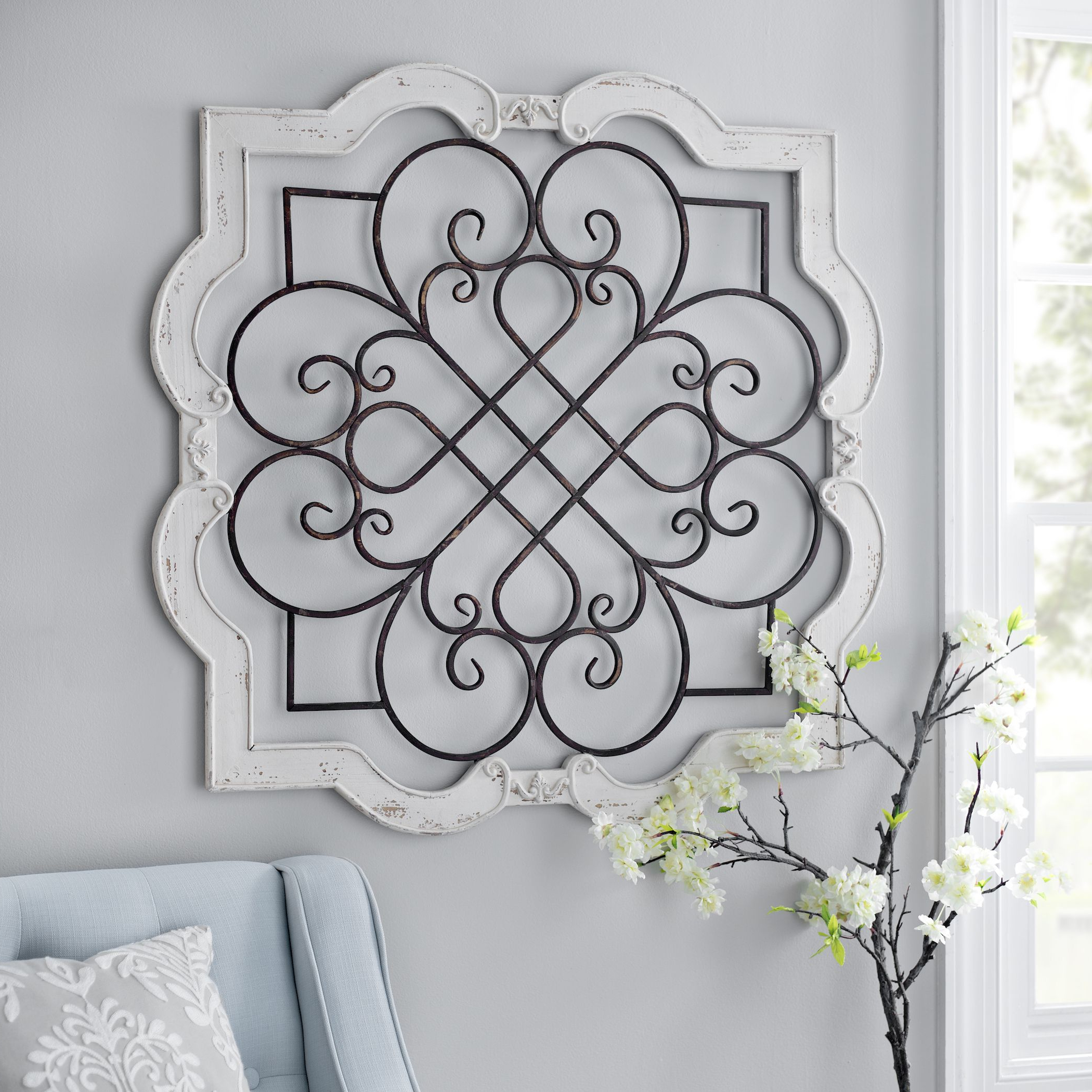 Famous Shabby Chic Farmhouse Cream Wood Iron Scroll Wall Door Sculpture With 1 Piece Ortie Panel Wall Decor (View 8 of 20)