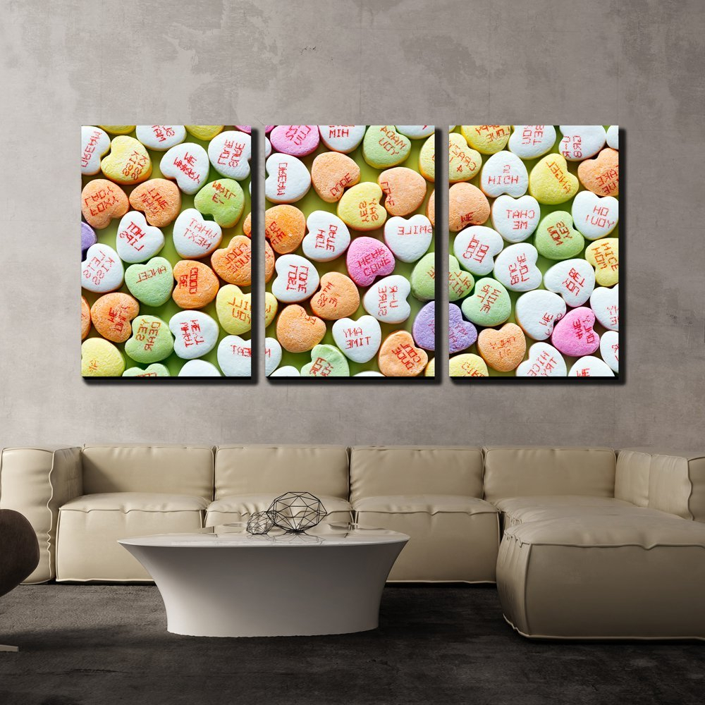 Famous Wall26 – 3 Piece Canvas Wall Art – Heart Shaped Candies For In 2 Piece Heart Shaped Fan Wall Decor Sets (View 4 of 20)