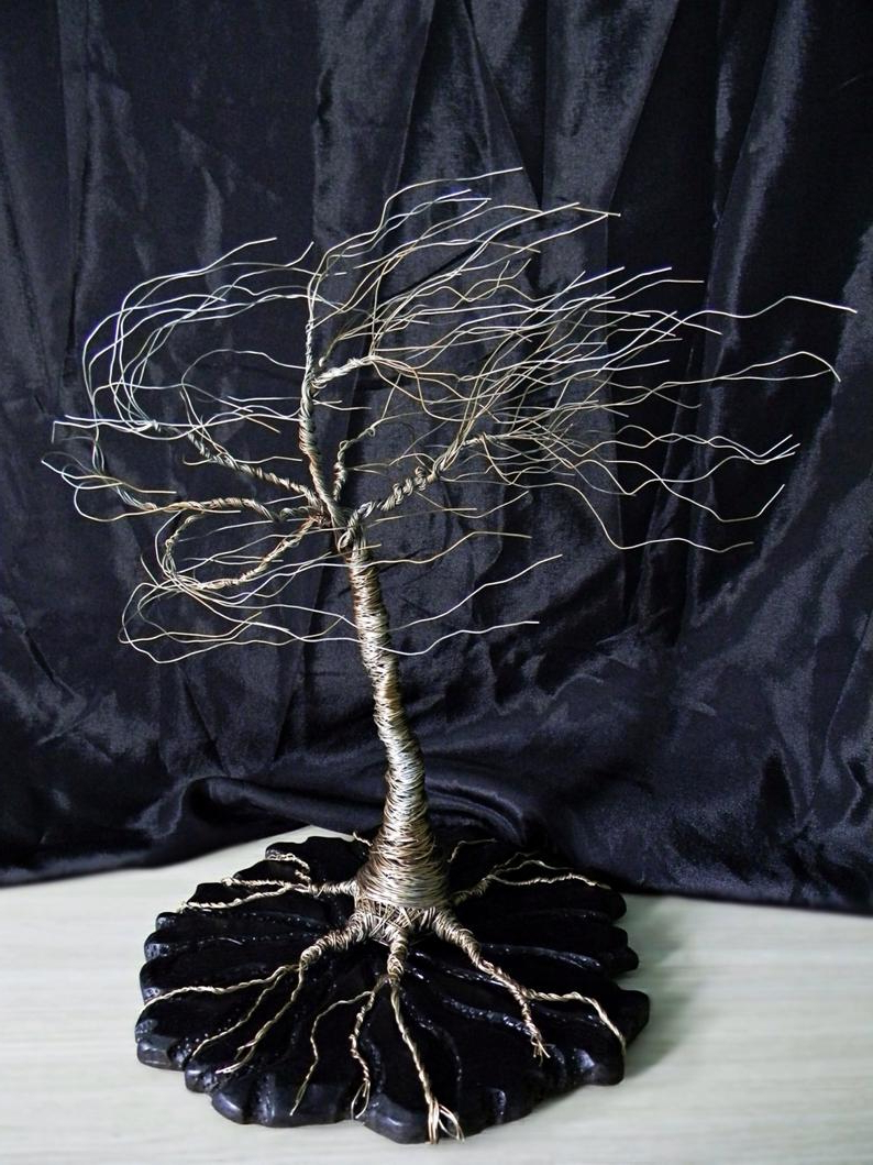 Famous Wire Tree Sculpture On Wood Base (View 3 of 20)