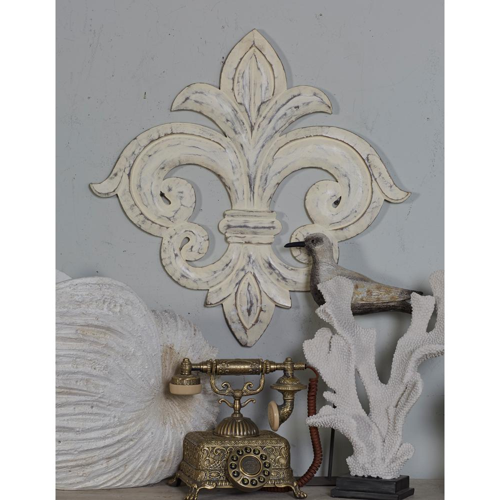 Fashionable 2 Piece Metal Wall Decor Sets By Fleur De Lis Living In Litton Lane French Inspired Whitewashed Fleur De Lis Wooden Wall Art (View 8 of 20)