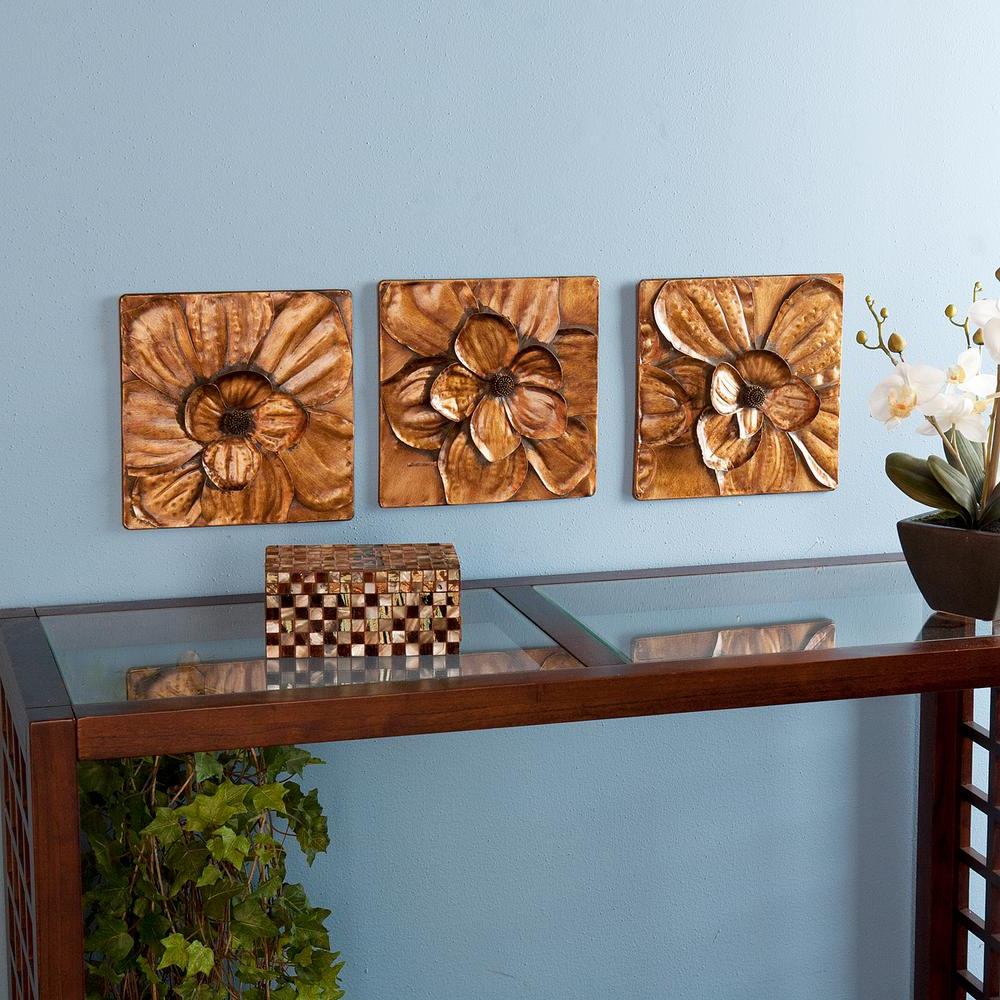 Fashionable 3 Piece Magnolia Brown Panel Wall Decor Sets Inside Southern Enterprises 10 In. X 10 In (View 2 of 20)