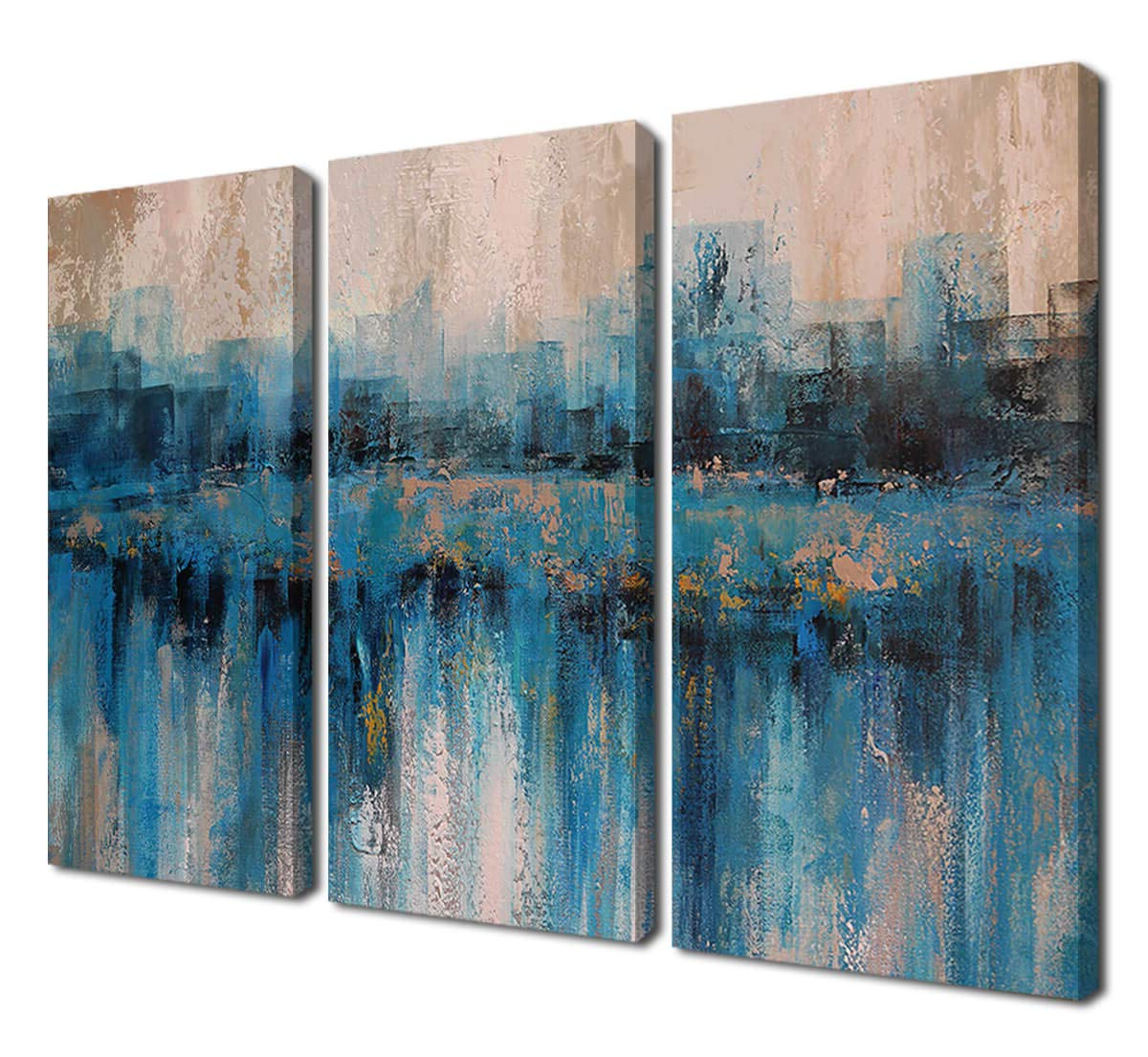 Fashionable Abstract Bar And Panel Wall Decor For Amazon: Canvas Wall Art Prints Abstract Textured Cityscape (View 10 of 20)