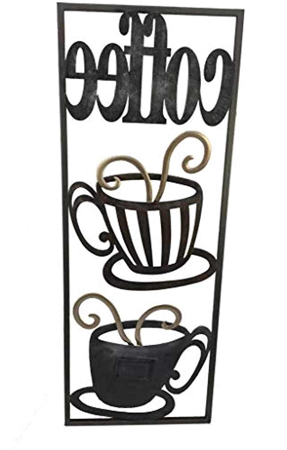 Fashionable Decorative Three Stacked Coffee Tea Cups Iron Widget Wall Decor Pertaining To Gerson Company (View 6 of 20)