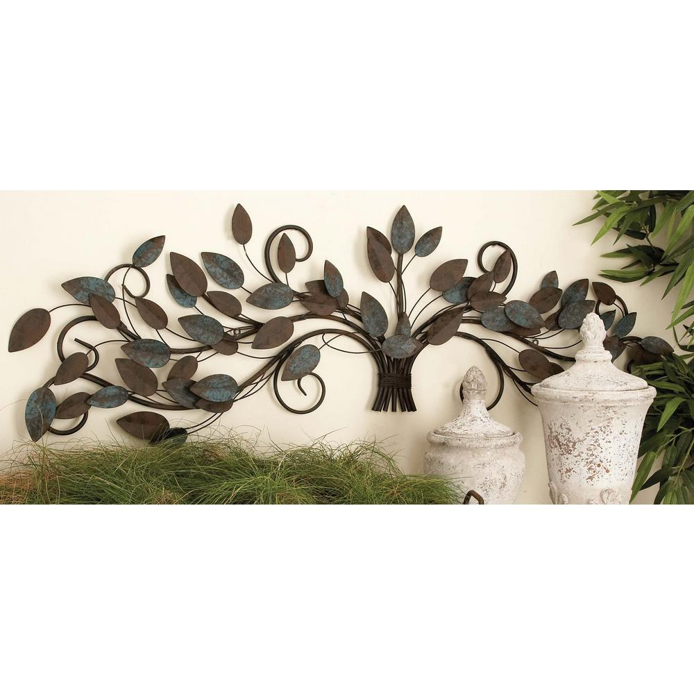 Fashionable Leaves Metal Sculpture Wall Decor Regarding Litton Lane 51 In. X 16 In (View 3 of 20)